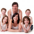 Happy family on white — Stock Photo #12592950