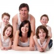 Stock Photo: Happy family on white