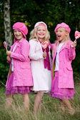 3 розовый измученный сестры — Стоковое фото