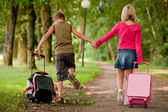 Walking with the suitcases back — Stock Photo