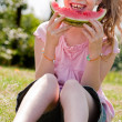 Sweet watermelon girl — Stock Photo