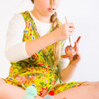 Young girl painting easter eggs — Stock Photo #12608113