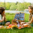 Picnic and waiting — Stock Photo