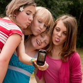 With four girls making a photo — Stock Photo