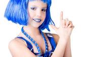 Blauwe bondgirl — Stockfoto