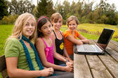 Girlfriends are waiting in front of the notebook — Stock Photo