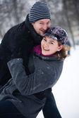 Happy winter couple — Stock Photo