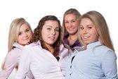 4 girls on white — Stock Photo