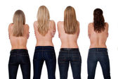 4 backs and jeans — Stock Photo