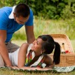 Sweet picnic couple — Stock Photo