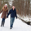Young couple have a forest winter walk — Stock Photo