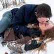 Passionate snow love on the ground - Stock Photo