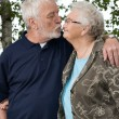 Older couple outside and in love — Stock Photo
