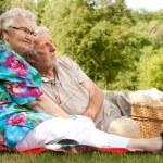 Elderly couple enjoying the spring — Stock Photo