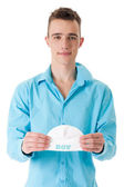 Guy with the babycap — Stock Photo