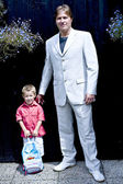 Portrait of groom and son — Stock Photo