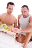 Happy homo breakfast — Stock Photo