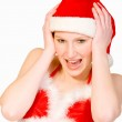 Beautiful christmas girl is screaming — Stock Photo #12695382