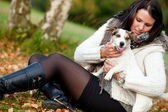 With my lovely dog — Stockfoto