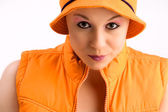 My orange body warmer — Stock Photo
