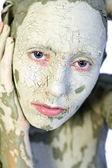 Minha cara de argila verde — Fotografia Stock