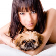 Cute girl and dog — Stock Photo #12710681