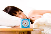 Alarmclock about to wake her up — Foto Stock