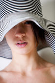 Portrait of you multi etnic girl with summer hat — Stock Photo
