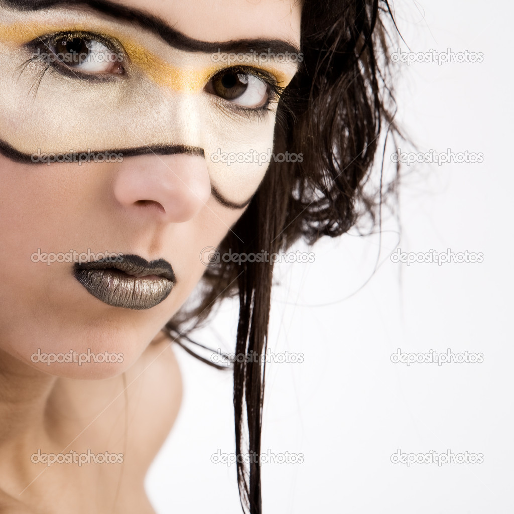 Young girl with fantasy make-up as if she's from the future — Stock Photo #12710634