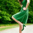Stock Photo: Young fashion green pose