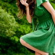 Stock Photo: Sweet girl in green dress