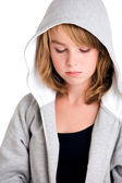 Thinking over my sins in hooded sweater — Stock Photo