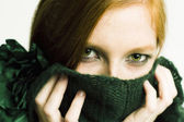 Green eyed redhead — Stock Photo