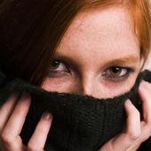 Hiding redhead — Stock Photo