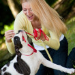 Playing with an american bulldog — Stock Photo