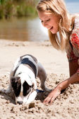 Helping my dog with digging — Stock Photo