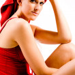 Relaxed wellness girl with red towel on her head — Stock Photo