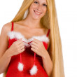 Beautiful Christmas faerie with very long hair smiling — Stock Photo