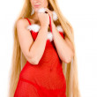 Shy looking Christmas faerie with very long hair — Stock Photo