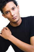 Indonesian young man in black shirt — Stock Photo