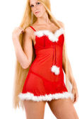 Pretty looking christmas faerie with very long blond hair — Stock Photo