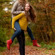 Teenagers having fun in the forest — Stock Photo #16029341