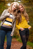 Happy sisters in the autumn — Stock Photo