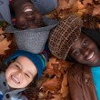 Multiracial portrait of 3 kids - Photo