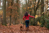 Walking with my dog in the forest — Stock Photo