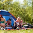 Young teenagers having a nice time on the camping — Stock Photo
