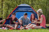 Barbeque youth on a camping — Stock Photo
