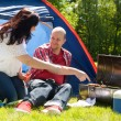 Happy couple enjoying their bbq — Stock Photo