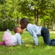 Africboy is kissing his sister — Stock Photo #30842705