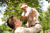 Blank father and his mixed daugther — Stock Photo